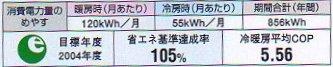 エアコンカタログの消費電力表示