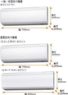 ダイキンエアコンRシリーズ室内機寸法図