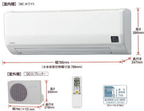 コロナWシリーズ室外機とリモコン