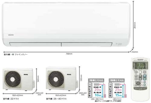 三菱重工エアコンRNシリーズ室外機とリモコン