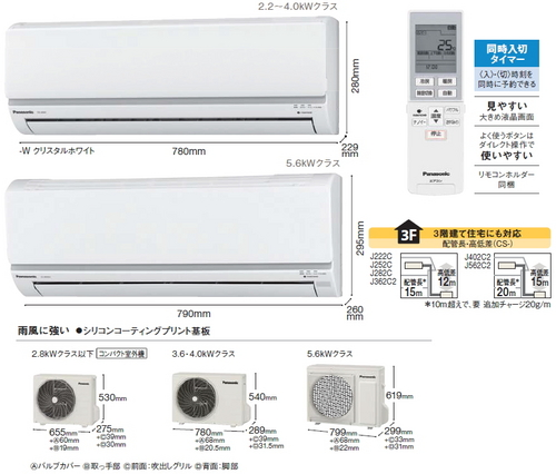 パナソニックJシリーズ室外機とリモコン