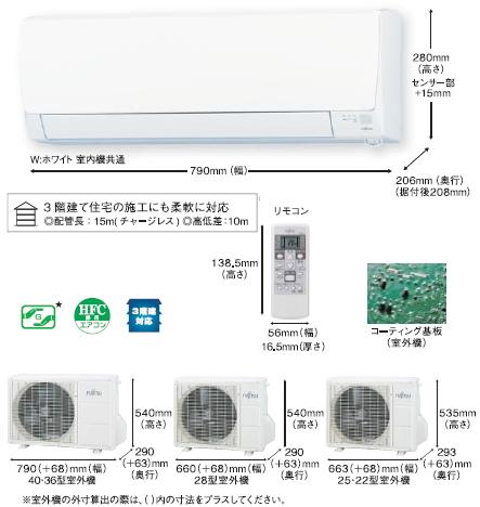 富士通Jシリーズ室外機とリモコン