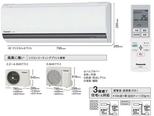 パナソニックSXシリーズ室外機とリモコン