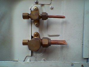 室外機の配管接続部
